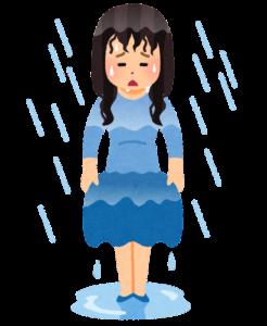 雨に濡れた人