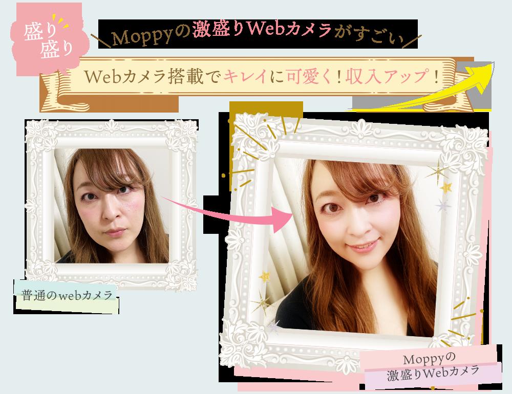 Moppyの激盛りWebカメラがすごいWebカメラ搭載でキレイに可愛く!収入アップ!